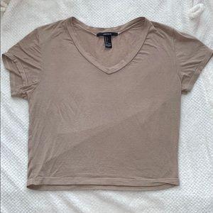 Tan Crop Top V Neck Shirt Vneck Short Sleeved Tee